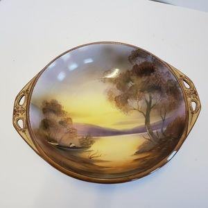 Nippon hand painted bowl Lake boating scene MINT
